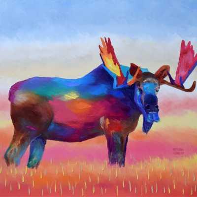 """Autumn Moose. Oil. 24""""X30"""" Original SOLD."""