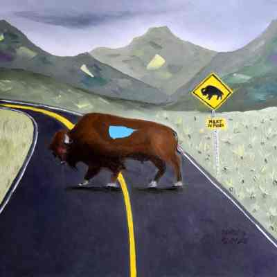 "Buffalo Crossing. Oil. 24""X30"". Available for Sale."