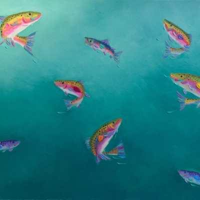 """Rainbow Dance. Oil. 16""""X20"""" Original Available."""