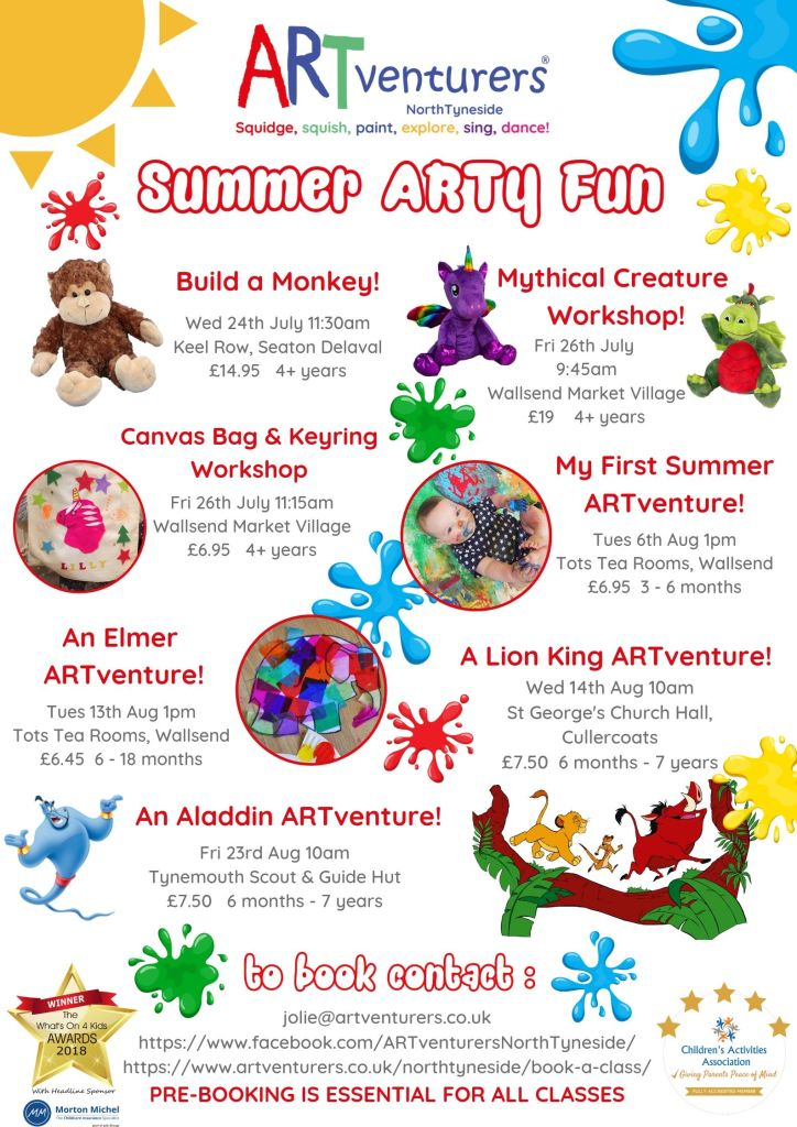 Summer holiday activities north tyneside artventurers poster