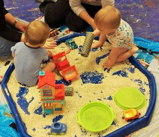 messy play with oats