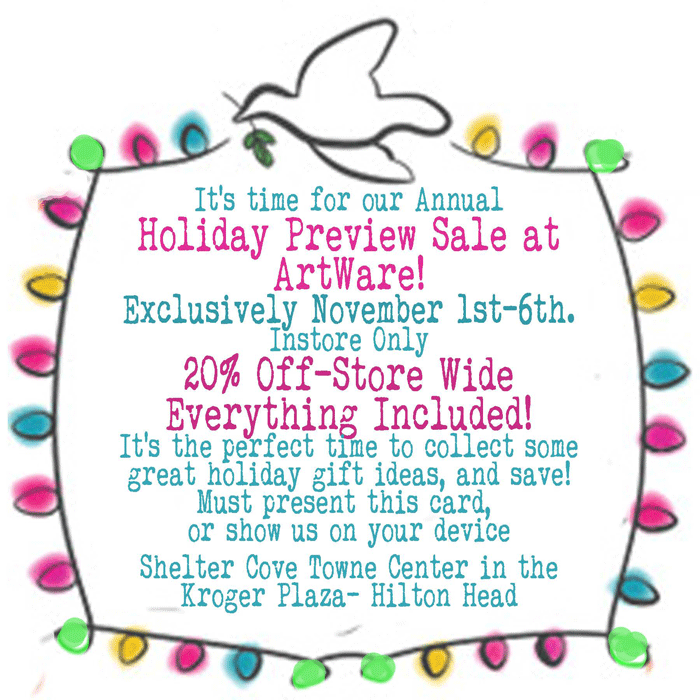 ArtWare Designs Annual Holiday Preview Sale 2016