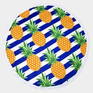 Boho Round Beach Towel - Pineapples
