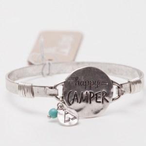 Happy Camper Wire Bracelet - Silvertone