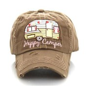 Happy Camper Washed Vintage Hat - Khaki