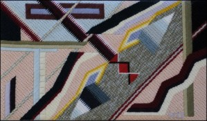 Mark Olshansky abstract needlepoint Face in the River