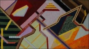 Mark Olshansky abstract needlepoint Orange Corner