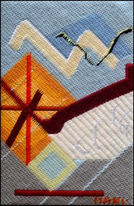 Mark Olshansky abstract needlepoint Sunset A