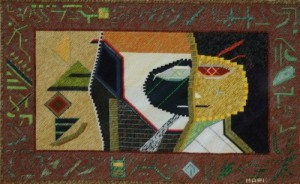 Mark Olshansky abstract needlepoint Mona Lisa's Kid