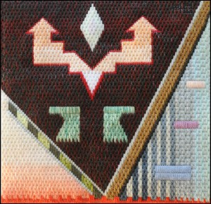 Mark Olshansky abstract needlepoint Pueblo Foyer