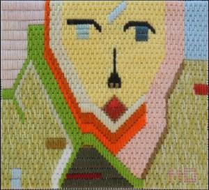 Mark Olshansky abstract needlepoint Any Key Verdi
