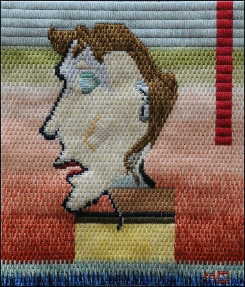 Mark Olshansky abstract needlepoint Grandma on a Headestal