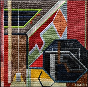 Mark Olshansky abstract needlepoint Les Jardin des Ulf