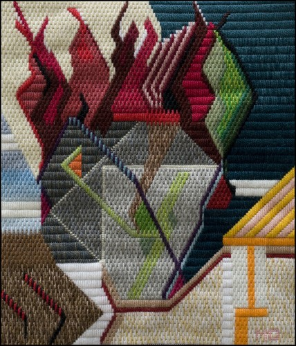Mark Olshansky abstract needlepoint 5.5 Alarm Still Life