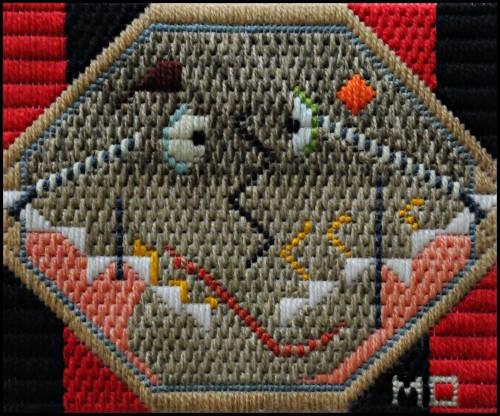 Mark Olshansky abstract needlepoint Pleasantly Puzzled