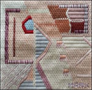 Mark Olshansky abstract needlepoint Rosé