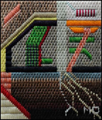 Mark Olshansky abstract needlepoint Worm Circuit
