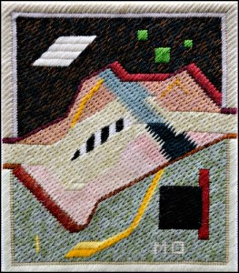 Mark Olshansky abstract needlepoint Abbreviated Piano