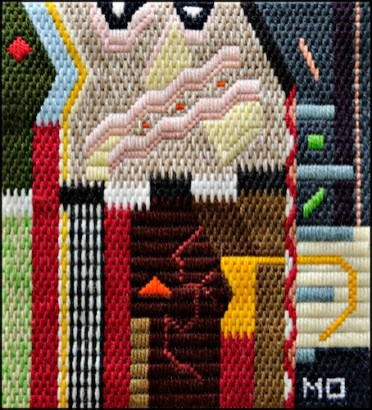 Mark Olshansky abstract needlepoint The Trumpet Player