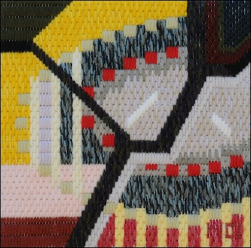 Mark Olshansky abstract needlepoint A Booth for Zeus