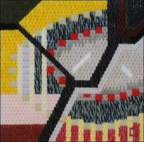 Mark Olshansky abstract needlepoint A Booth for Zeus