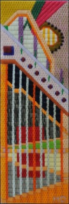 Mark Olshansky abstract needlepoint Dungeon Tower