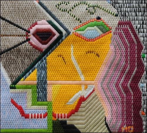 Mark Olshansky abstract needlepoint Ladies Luck