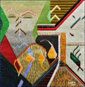 Mark Olshansky abstract needlepoint Gobi Desert Egg Yolks