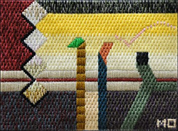Mark Olshansky abstract needlepoint Casual Conversation