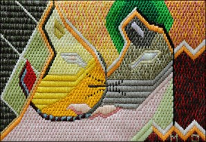 Mark Olshansky abstract needlepoint Saved by a Whisker