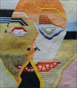 Mark Olshansky abstract needlepoint Still Working on a Title