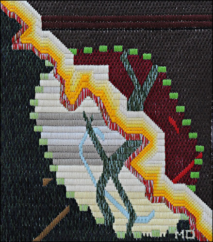 Mark Olshansky abstract needlepoint Apollo's Lollipop