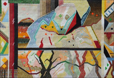Mark Olshansky abstract needlepoint Willy with an Enchanted Hallelujah
