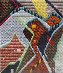 Mark Olshansky abstract needlepoint Flying Fish with Crying Wolf