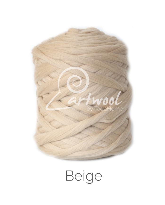 Beige Merino Wool Chunky Yarn