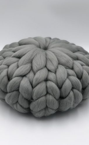 Grey Merino Wool Cushion