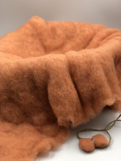 Peach Merino Wool Fluff Basket Blanket, Newborn Photo Basket Filler
