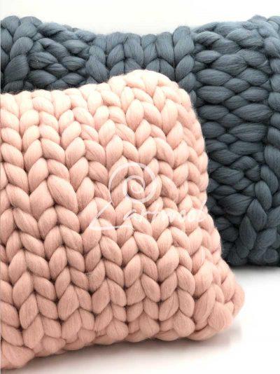 Light Pink 30 cm Super Chunky Knit Cushion - Square Merino Wool Pillow