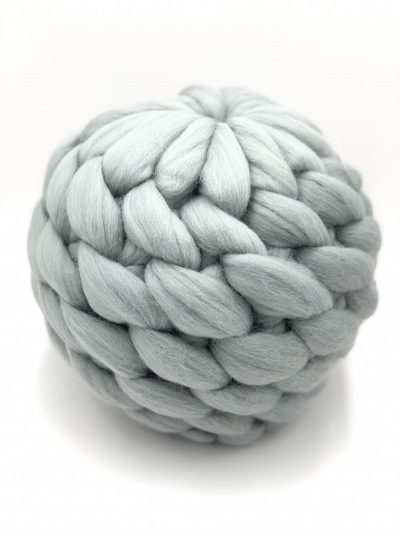 Pearl Grey Merino Wool Ball Pillow
