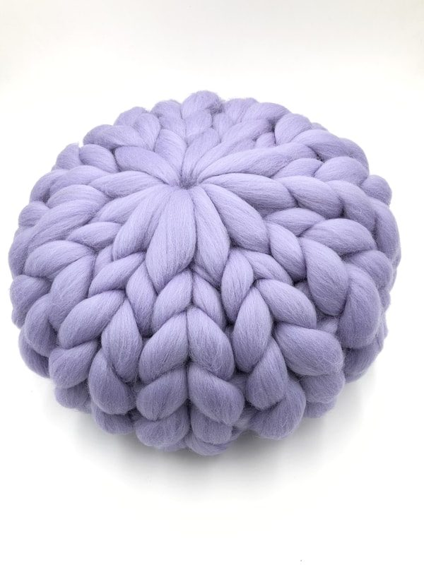 Lilac 30 cm - Chunky Knit Cushion - Round Merino Wool Pillow