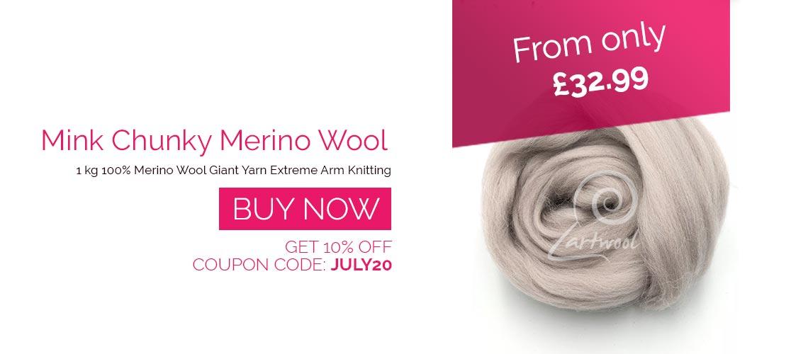 Mink Satin Grey Merino Super Chunky Wool