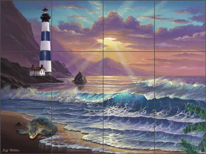 morning majesty lighthouse by jeff wilkie ceramic tile mural pov jwa035 artwork on tile fine art tile murals and accents
