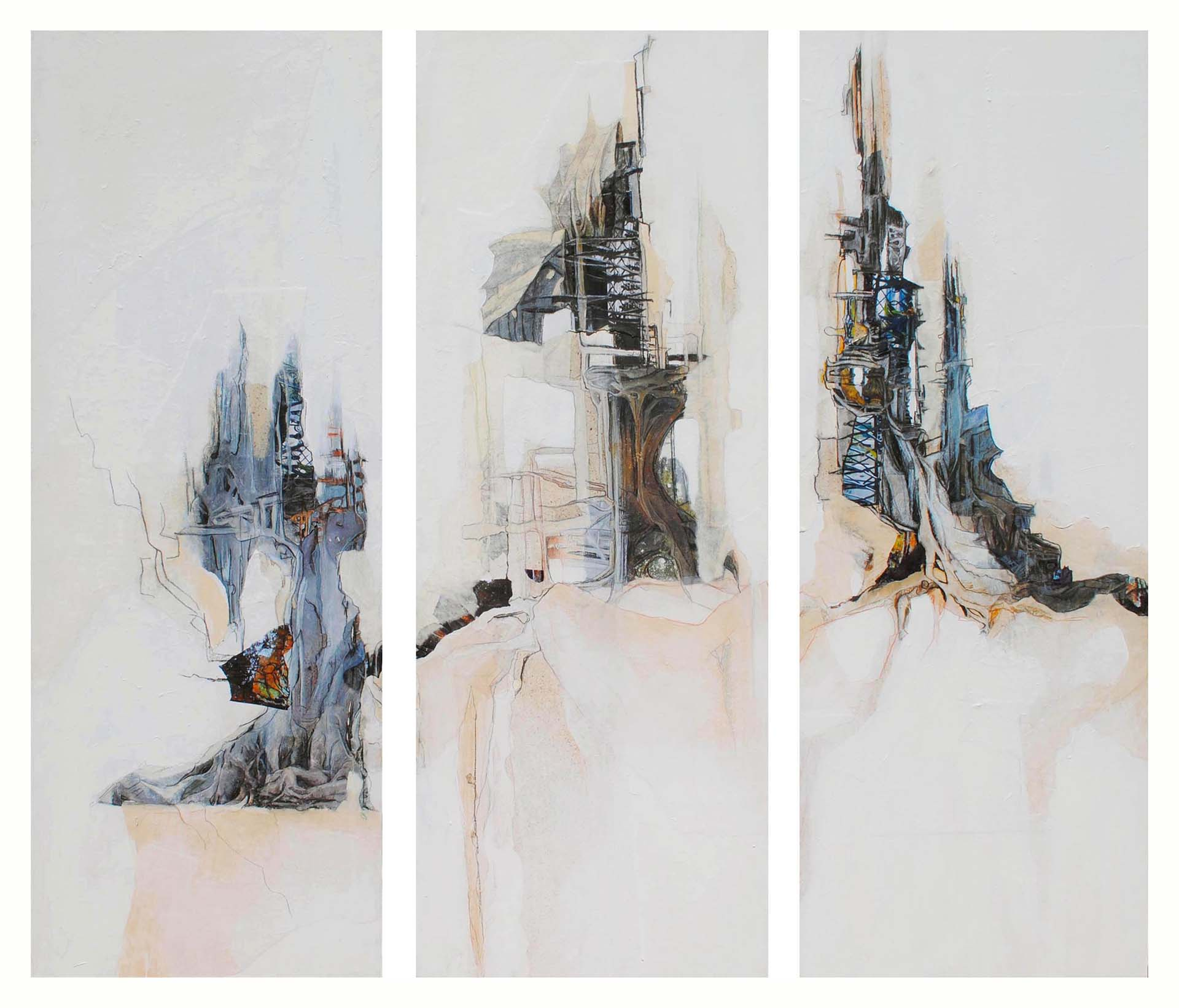 painting of architecture fused with tree