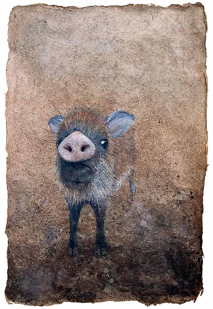 watercolor painting of wild piglet