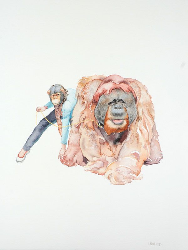 watercolor of person in monkey mask with orangutan