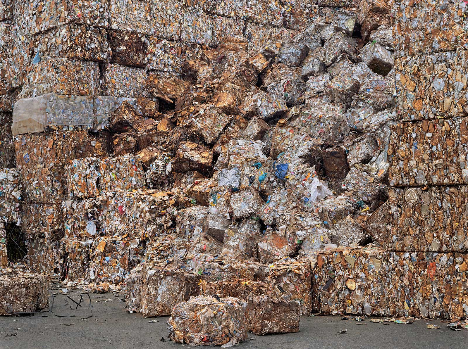 compacted trash in recycling yard