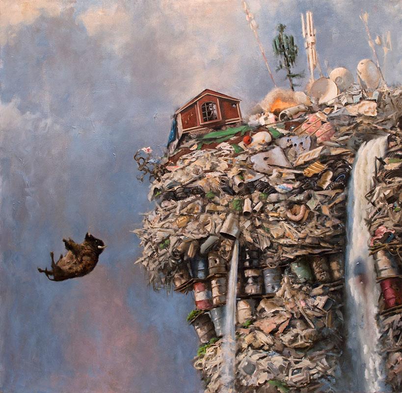 bison falling off hillside of trash