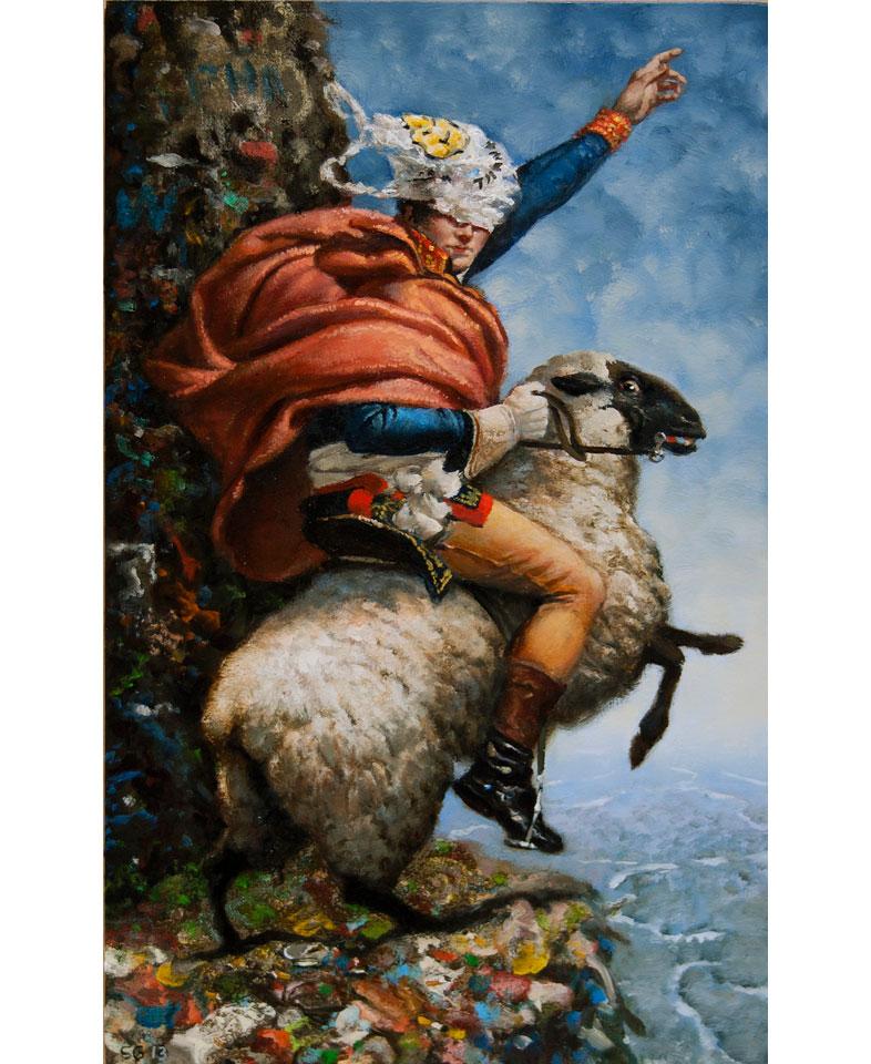 man riding sheep with plastic bag on head