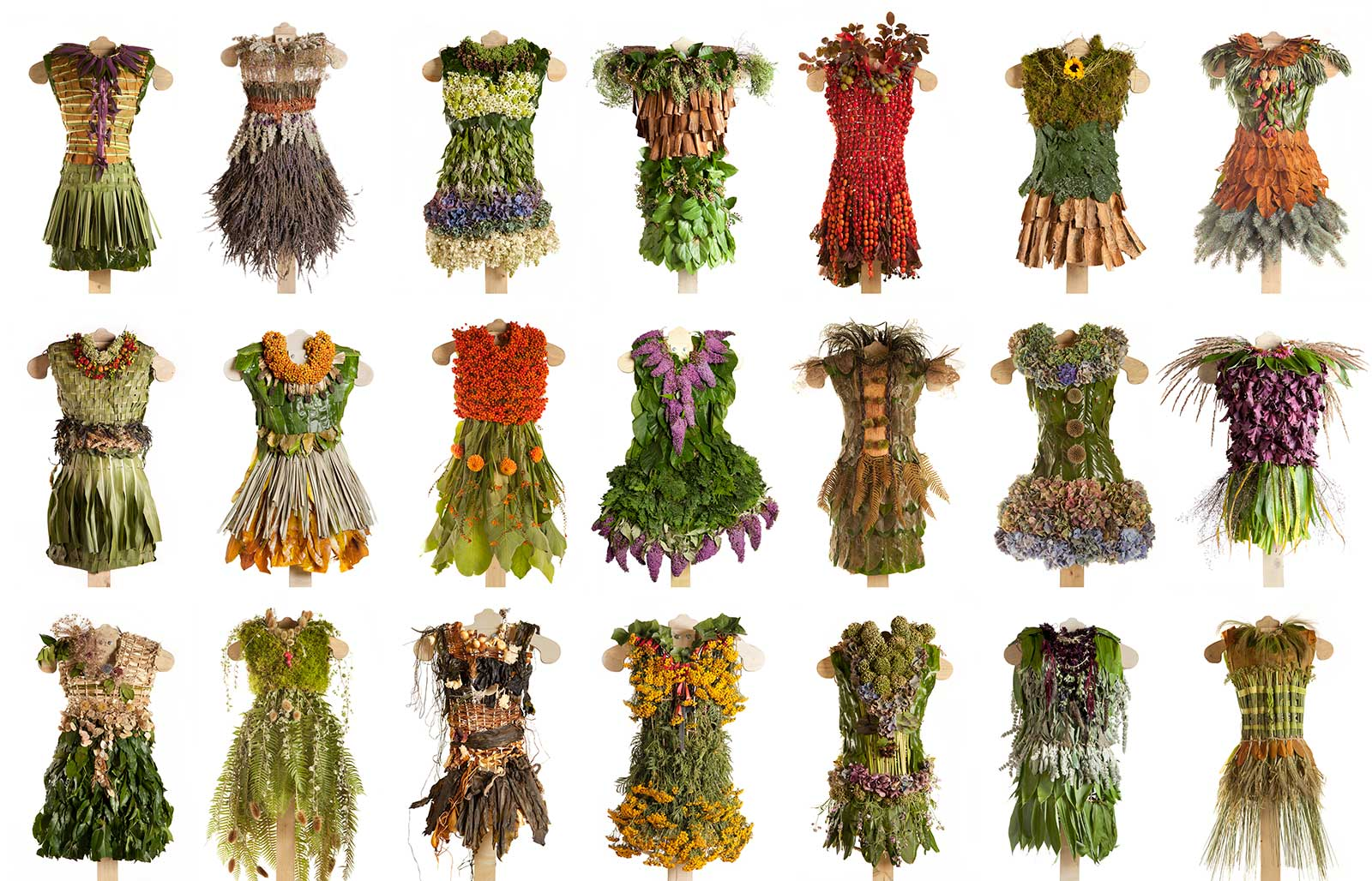 series of dresses made from plants