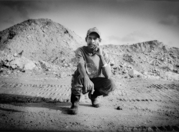 Andres Perez Segura at the chalk mine that he and other members of Cooperativa Esperanza have recently purchased. The workers saved for almost a decade to purchase the land and are now hoping to provide a financial model for other organizations as they develop a profitable mine with proper working conditions. Barahona, Dominican Republic / 2009